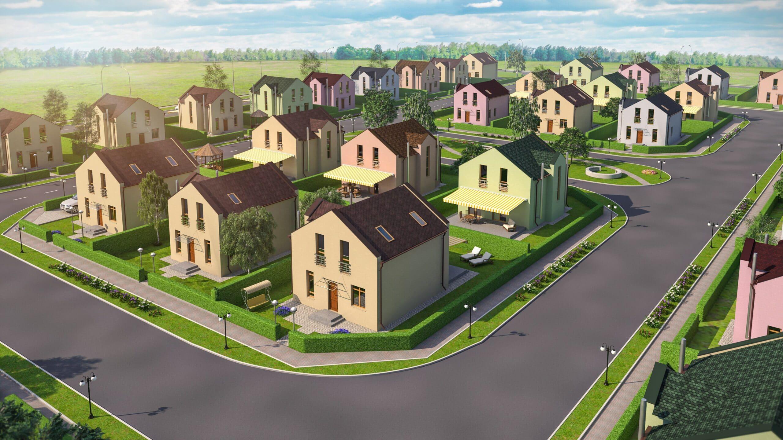 Архитектурная 3D визуализация коттеджного поселка