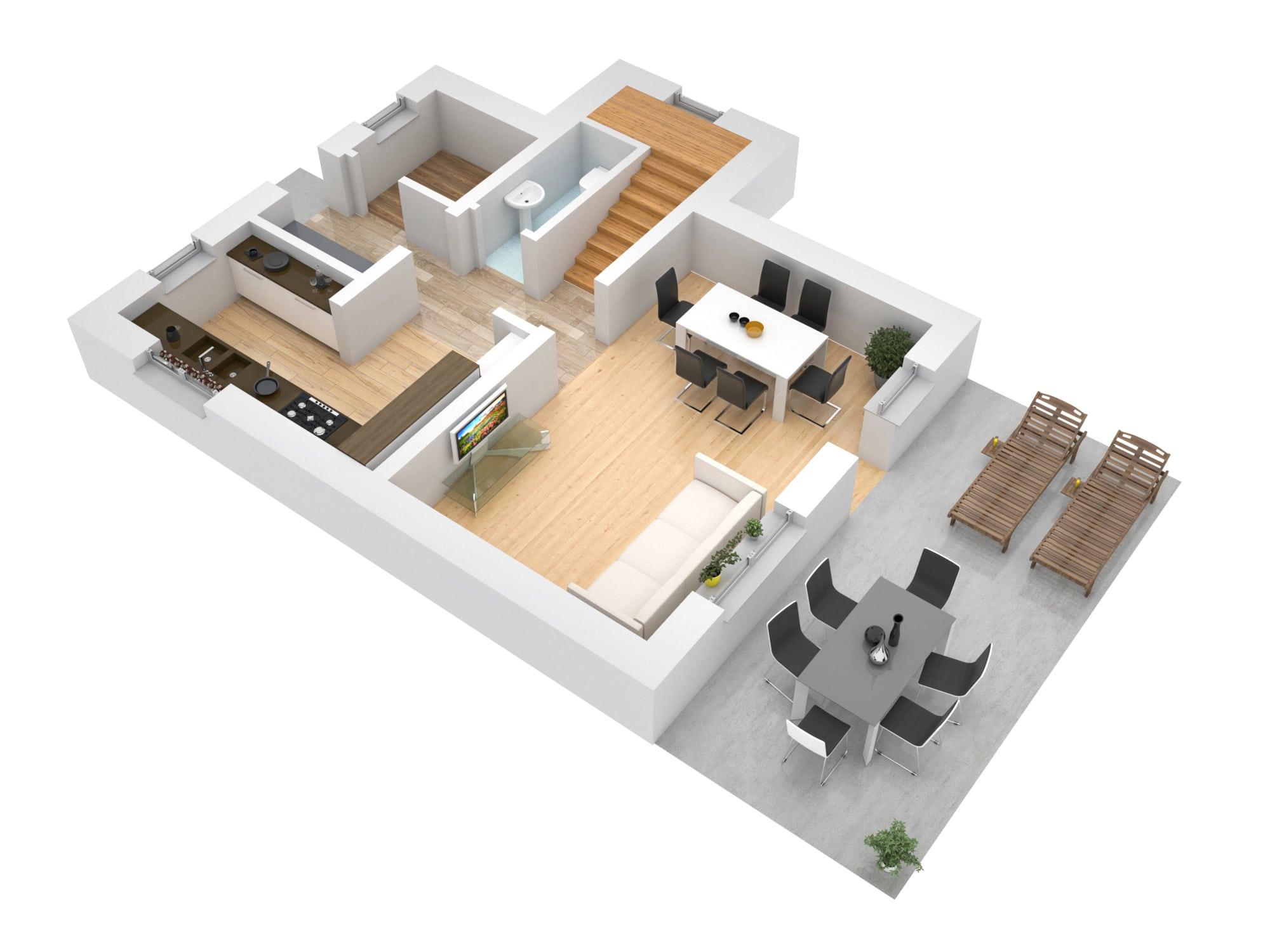 Поэтажные планы Визуализация 1 этажа
